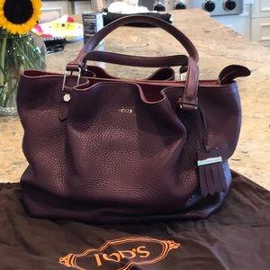 TOD'S burgundy satchel